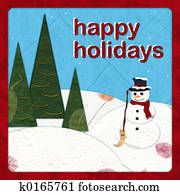 Happy Holidays - Paper cut Snowman