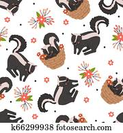 Seamless pattern with cute skunk on white.