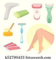 vector flat hair removal tools set
