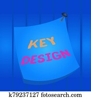 Writing note showing Key Design. Business photo showcasing a necessary or very important realization of a concept or idea Curved reminder paper memo nailed colorful surface pin frame.