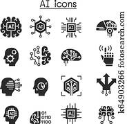 AI, Artificial intelligence icon set