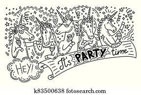 Doodle unicorn party