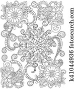 Mandala flower coloring vector for adults