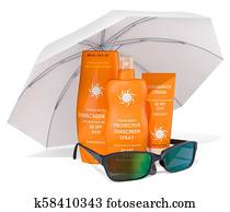 Sunscreen products with sunglasses under sun umbrella. 3D rendering