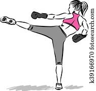 woman fitness kick boxing