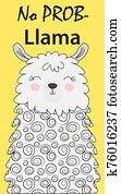 Hand drawn illustration of a cute funny llama face Scandinavian style flat design