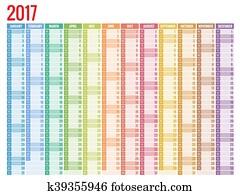 kalender, einfache, flache, design, 2017