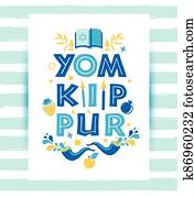 Yom Kippur greeting card with candles, apples and shofar and sybols. Jewish holiday background. illustration on white.