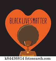 Black lives matter banner with afro american girl silhouette with afro style hair. Black lives matter graphic poster or print design template against racial discrimination with black woman
