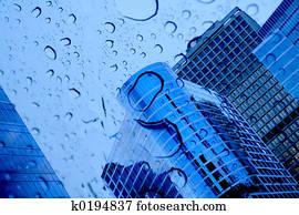 buildings and rain