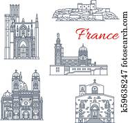France vector landmark line icons of Marseilles