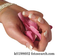 Manicure with petals