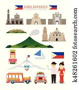 Philippines Landmarks Architecture Building Object Set