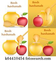 Rosh Hashanah banner concept set, realistic style