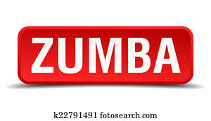Zumba red 3d square button isolated on white