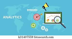 analytics, und, behaupten, website, verkehr, schaubild