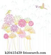 buntes, kolibri, und, blume
