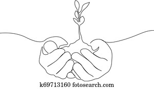 Continuous one line growing sprout in the hands of man, Eco concept