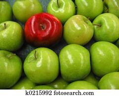 eins, roter apfel