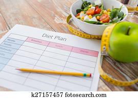Fin, haut, régime, nourriture, plan, table