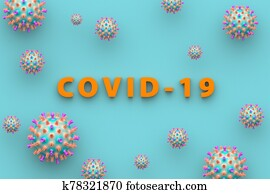 The inscription Covid-19 on a blue background. Medical concept of coronavirus. 3D illustration.
