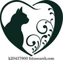 Veterinarian Heart cat love.