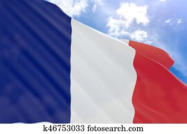 3D rendering of France flag waving on blue sky background