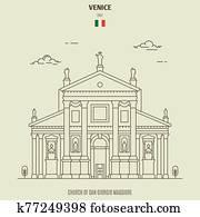 Church of San Giorgio Maggiore in Venice, Italy. Landmark icon