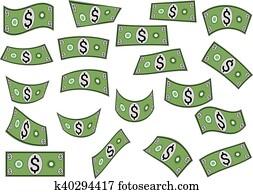 Falling dollars, money, shapes