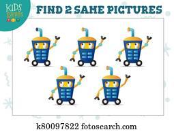 Find two same pictures kids game vector illustration.