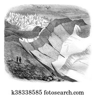 Glaciers, Third and final article, vintage engraving.