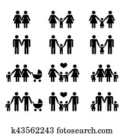 Vector gay family with children icons white
