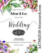 Wedding invitation DiY template dogwood handmade watercolor illustration.
