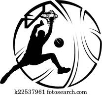 Basketball Dunk with Stylized Ball