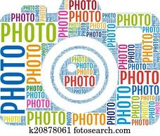 foto, camera,, vektor
