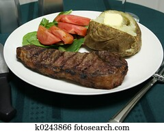 Grilled Steak dinner with utensils
