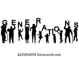 People silhouettes of different ages holding the letters of the word GENERATIONS