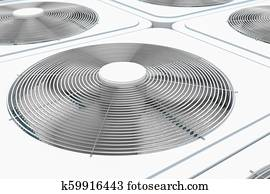 3d render of close up view on HVAC units