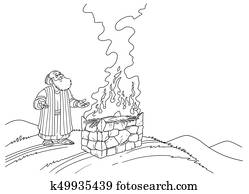 Noah stands near the Altar with Fire