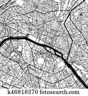 Paris France Vector Map