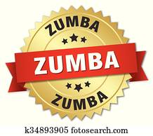 zumba 3d gold badge with red ribbon