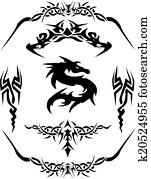 Dragon tattoo Vector Clipart Design