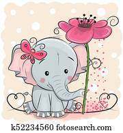 Greeting card Elephant with flower