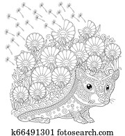 Hedgehog and spring flowers coloring page