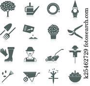 gemüsegarten, heiligenbilder, satz