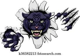 mittel, schwarzer panther, maskottchen