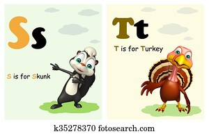 Skunk and Turkey with Alphabate
