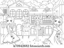 Coloring Girls In Short Dresses At Carnival