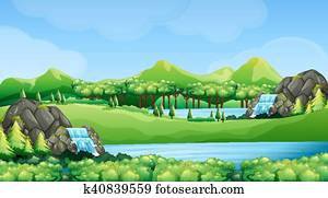 Nature scene with waterfalls and lake
