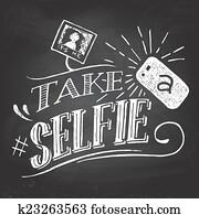 Take a selfie on blackboard